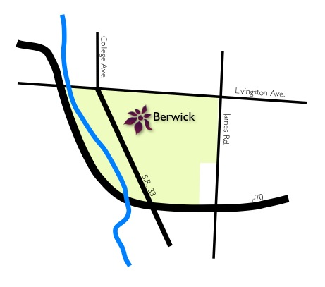 Line-drawn map of Berwick